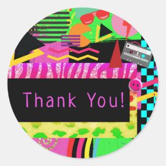 Sticker Rond Les années 80 géniales colorées audacieuses