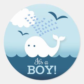Sticker Rond Les baleines lunatiques c'est un garçon