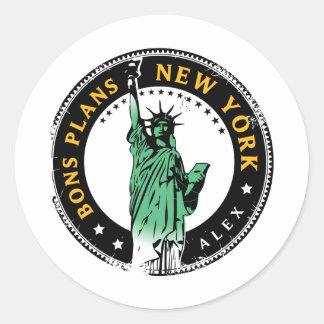 Sticker Rond Les Bons Plans pour un voyage à New York