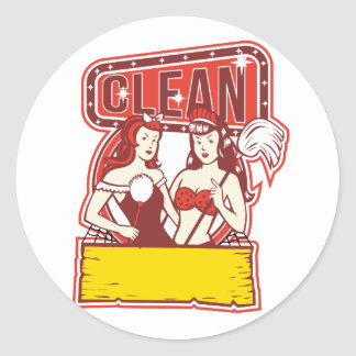 Sticker Rond Les décapants jumeaux nettoient les années 1950