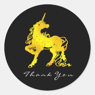Sticker Rond Les étoiles d'or de coeurs de licorne remercient