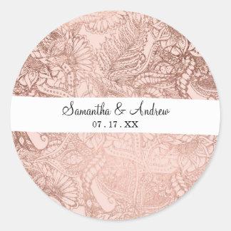 Sticker Rond Les fleurs tirées par la main d'or rose à la mode