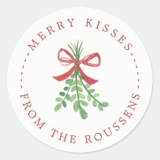 Sticker Rond Les joyeux baisers ont personnalisé des