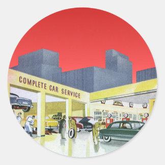 Sticker Rond Les mécaniciens automobiles vintages accomplissent