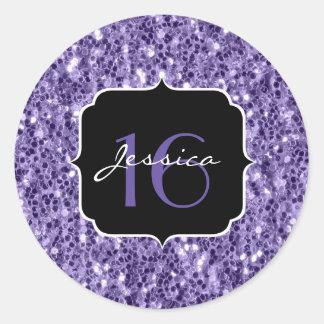 Sticker Rond Les parties scintillantes pourpres ultra-violettes