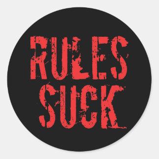 Sticker Rond Les règles sucent - l'anarchiste d'autorité de