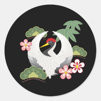 Sticker Rond Les symboles chanceux japonais refroidissent le