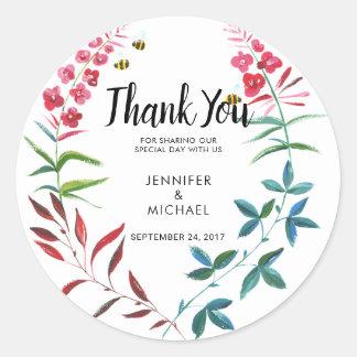 Sticker Rond L'été d'aquarelle fleurit la faveur de Merci de