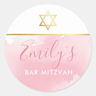 Sticker Rond L'étoile d'or de BAT MITZVAH chic rougissent