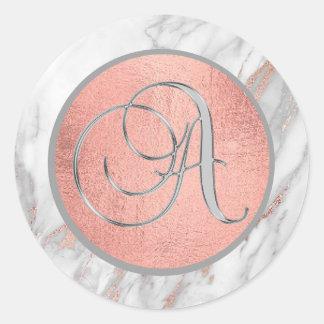 Sticker Rond LETTRE 'A de monogramme de marbre de feuille d'or