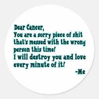 Sticker Rond Lettre au Cancer