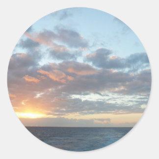 Sticker Rond Lever de soleil au paysage marin de pastel de la