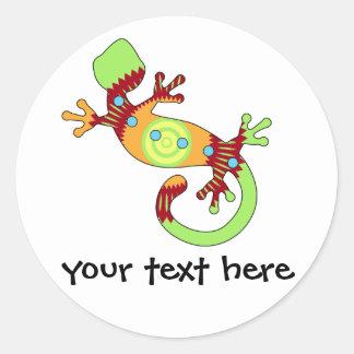 Sticker Rond Lézard coloré de Gecko d'amusement
