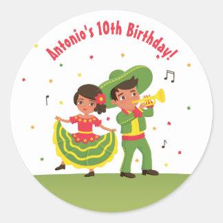 Sticker Rond L'hispanique mexicain mignon de fiesta badine des