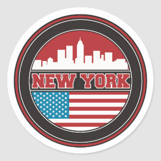 Sticker Rond L'horizon | Etats-Unis de New York diminuent