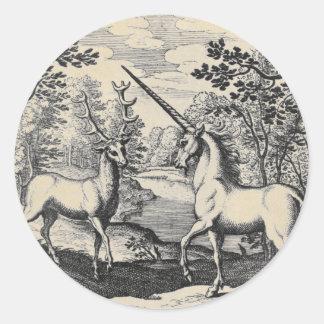 Sticker Rond Licorne et mâle