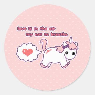 Sticker Rond Licorne mignonne Valentine