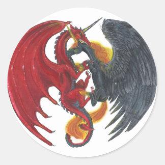Sticker Rond Licorne noire du feu et dragon rouge
