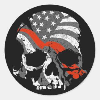 Sticker Rond Ligne rouge mince de crâne américain