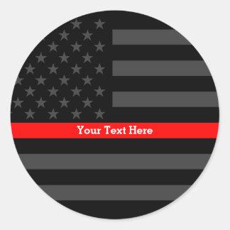 Sticker Rond Ligne rouge mince drapeau noir personnalisé