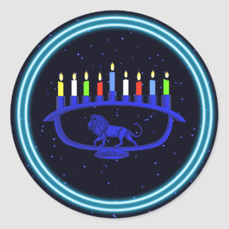 Sticker Rond Lion bleu Menorah