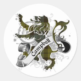 Sticker Rond Lion de tartan de Campbell