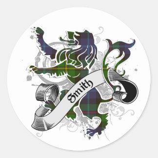 Sticker Rond Lion de tartan de Smith