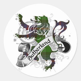 Sticker Rond Lion de tartan de Sutherland