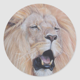Sticker Rond lion hurlant l'art de réaliste de faune de grand