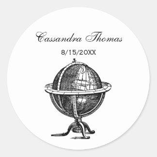 Sticker Rond Lithographie vintage de globe du monde dessinant