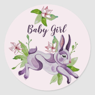Sticker Rond Little bunny in watercolor