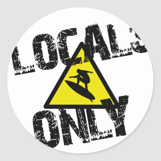 Sticker Rond Locals only surfer danger sign surf