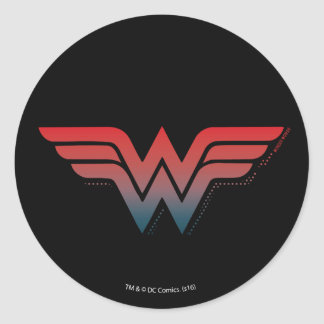 Sticker Rond Logo bleu rouge de gradient de femme de merveille