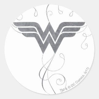 Sticker Rond Logo de bonheur de beauté de la femme de merveille