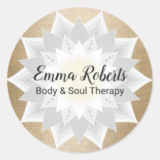 Sticker Rond Logo de fleur de Lotus d'or de thérapie de massage