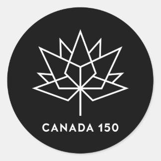 Sticker Rond Logo de fonctionnaire du Canada 150 - noir et