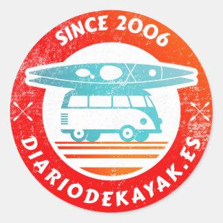 Sticker Rond Logo de journal de kayak washed