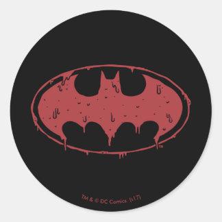 Sticker Rond Logo de suintement de batte rouge de Batman  