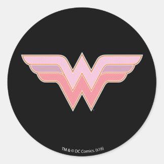 Sticker Rond Logo rose et orange de femme de merveille de