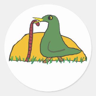Sticker Rond L'oiseau tôt attrape le ver 2