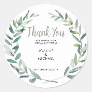 Sticker Rond L'olive d'aquarelle part de la faveur de Merci de