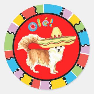 Sticker Rond Long chiwawa de manteau de fiesta