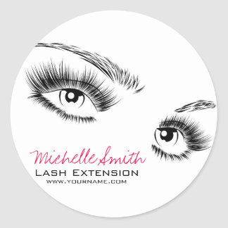Sticker Rond Longue extension de mèche de mèches de beaux yeux