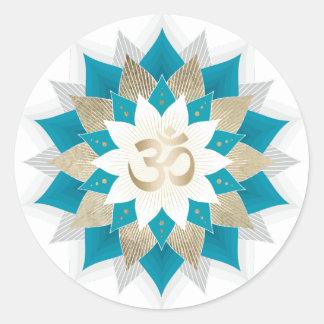 Sticker Rond L'or et le yoga floral turquoise OM de Lotus