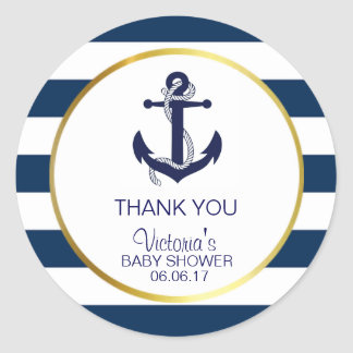 Sticker Rond L'or nautique de bleu marine barre le baby shower