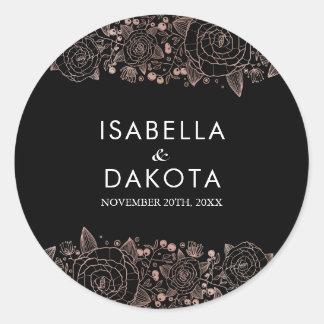 Sticker Rond L'or rose et noircissent le mariage floral chic de
