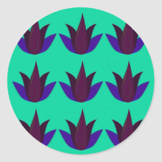 Sticker Rond Lotus sur cyan