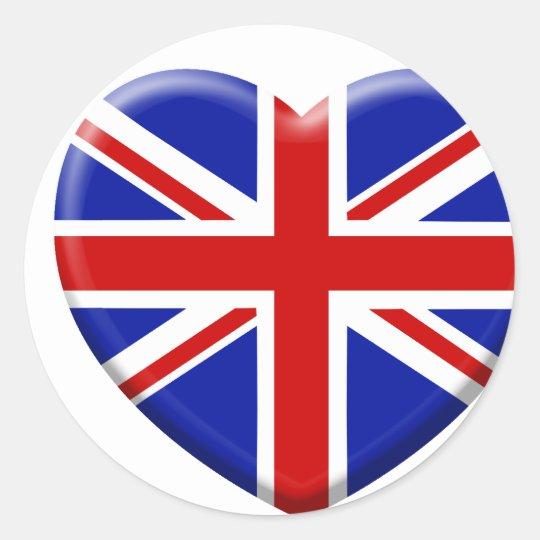 Sticker Rond love drapeau Angleterre