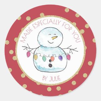 Sticker Rond Lumières de bonhomme de neige et de ficelle