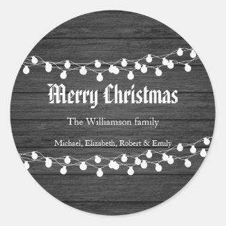 Sticker Rond Lumières de Noël en bois noires de vacances